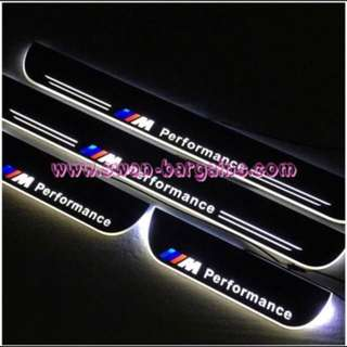 BMW 5-Series White BMW M Performance Design Sweeping Glowing Animated Moving Running Illuminated LED Door Sill Scuff Plates