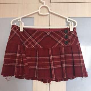 Abercrombie Red Checkered Skirt