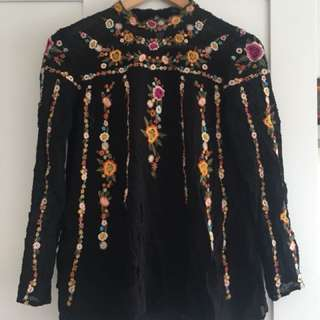 Zara Woman embroidered top