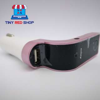 Bluetooth Car Charger With Multi Functions (Pink)