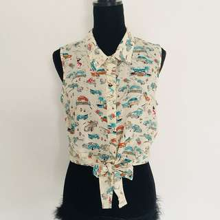 Vintage print sleeveless button up tie front shirt size s
