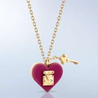 LV 14k gold plated heart key necklace