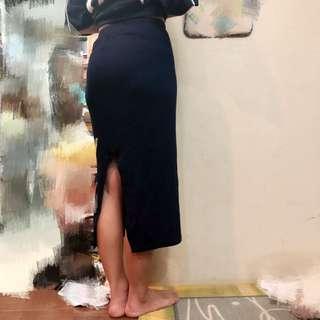 【二手】深藍色針織裙