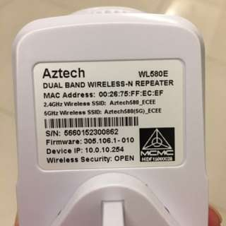 AZTECH DUAL BAND WIRELESS-N REPEATER WL580E