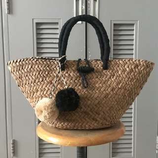 seagrass  beach summer bag with pompom