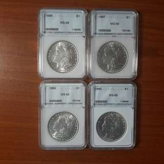 MS 65 US silver Morgan dollars