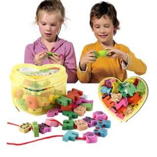 [PO24]Wooden Lacing Beads Animals Blocks Heart-shape Box Threading Educational Toy