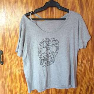 Gray Skull Top with semi cold shoulder detail