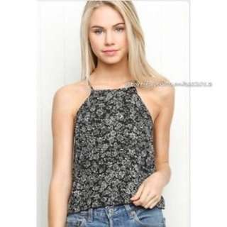 Brandy Melville Black Floral High Neck