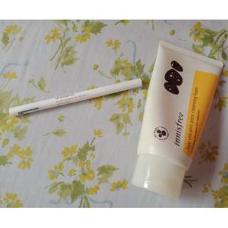 Innisfree Auto Eye Brow Pencil (Color: Dark Night Sky Black) with Free Innisfree Jeju Volcanic Cleansing Foam