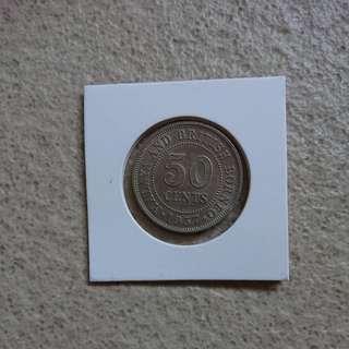 Rare 1957H Malaya 50 Cents