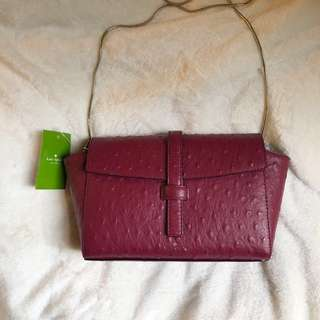 kate spade cross body : riverside street ostrich emmie 棗紅