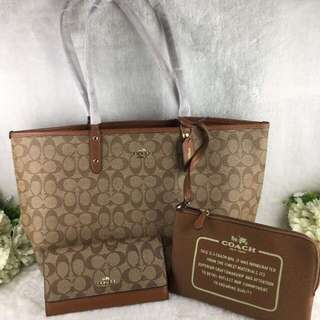COACH REVERSIBLE TOTE AND WALLET
