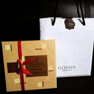 Godiva 72% Dark Chocolate 16片朱古力 禮盒 連紙袋 (原價$205) 賀年糖果