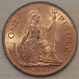 1967 Grear Britain Queen Elizabeth II Penny Coin
