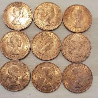1966 Great Britain Queen Elizabeth II Half Penny Coin