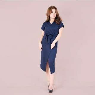 HTP Dark Blue Wrap Dress