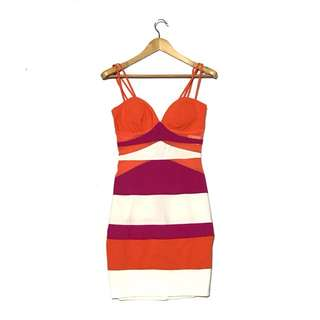 XOXO COLOR block Bodycon Dress