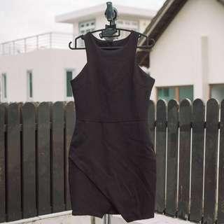 Korean ulzzang black halter neck bodycon dress