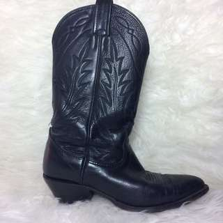 Authentic Cowboy Boots, Black Leather, Size 7.5