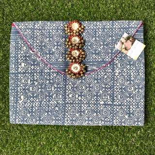 Batik Clutch Bag with Bells
