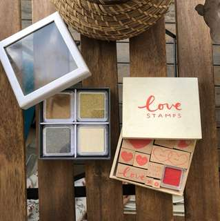 BNIB KIKKI K Love Stamp Set & Ink Quad