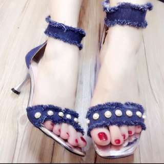 Dark Blue Denim and Pearls Sandals size 34 37 38