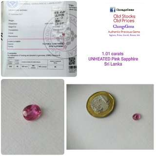 Unheated 1.01 carats Pink Sapphire Sri Lanka gemstone. With Certificate