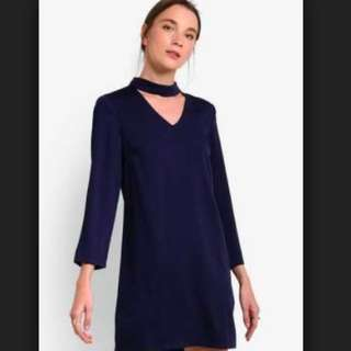 V neck collar blue shift dress