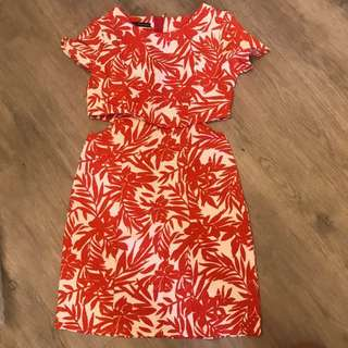 Tropical cut out dress