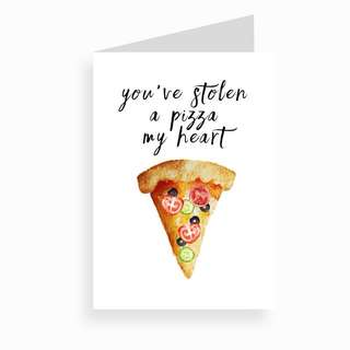 Pizza Handmade Watercolour Pop-Up Card