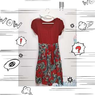 Dress batik Maroon