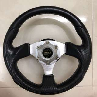 Sporty Style Steering wheel, suitable for cars with bolt size 13mm or 0.75 inch; diameter size: 30cm or 11.75 inches; easy grip & good condition