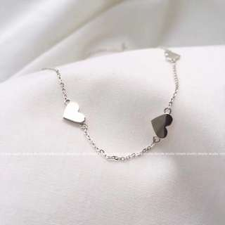 BN Korean 3 Hearts 925 silver necklace