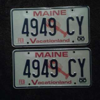 2 pair of vintage Maine auto plates. Selling by the pair