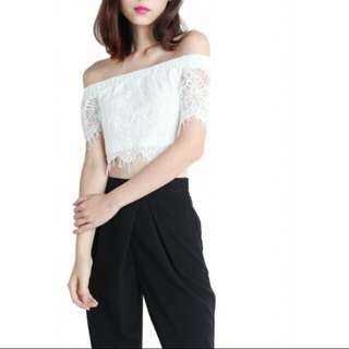 Thetinselrack white lace off shoulder top