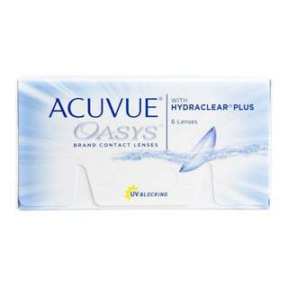 2 boxes of 6 lenses of Acuvue Oasys biweekly soft contacts