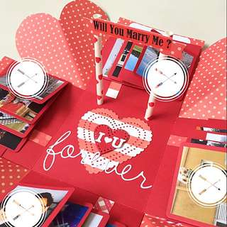 I love you forever will u marry me Explosion Box Card in red