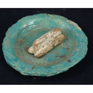 明朝 法華藍釉葵口碟陶器
