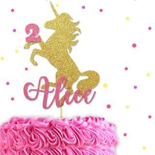 Custom Unicorn Birthday Cake Topper