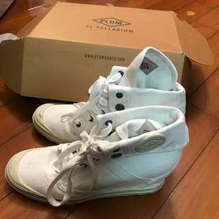 Palladium white canvas platform boots 內增高