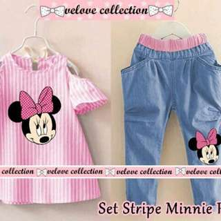 ZR06 set stripe minnie pink