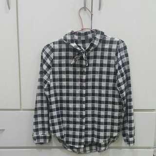 🚚 超可愛💓領結格子襯衫