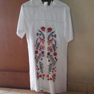 Dress White Putih Bordir Wanita