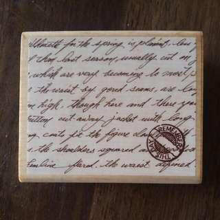 Large Art Rubber Stamp Handwriting. Scrapbooking. Inc Pad