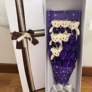 Bear Bouquet Purple Flower Vday Bouquet