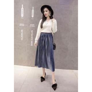[NEW] Pleated Highwaist Midi Skirt