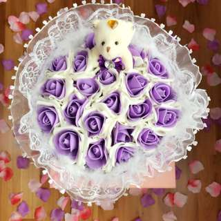 Purple Bear Flower Bouquet Happy Valentines Day