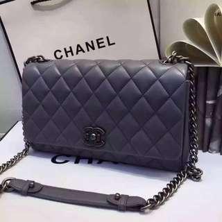Chanel 灰色原版小羊皮