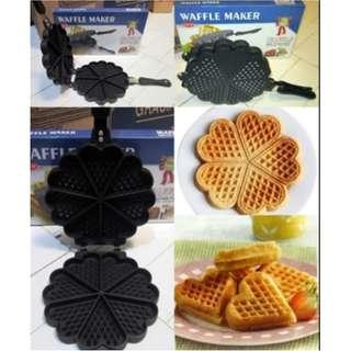 Waffle Maker Love Heart 7 Holes Cetakan Wafel Bulat Motif Bunga